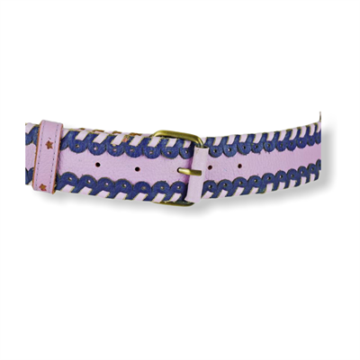 Cinturon weave Belt (Pink/royal Blue)
