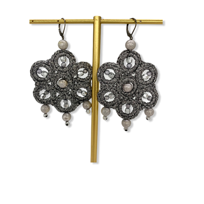 Macrame Earrings (Gunmetal Silver)
