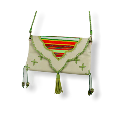 Ampi Clutch (Beige and Lime green)