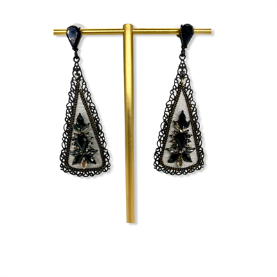 Nickel Free Earrings (black/grey/triangle)
