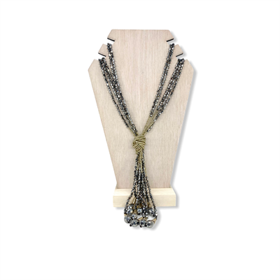 Beaded Necklace (metallic silver)