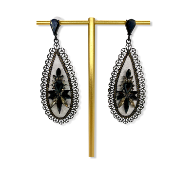 Nickel free earrings (black/grey)