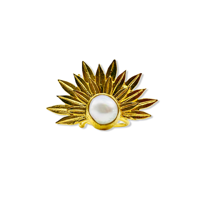 Pearl Golden Leaf Ring