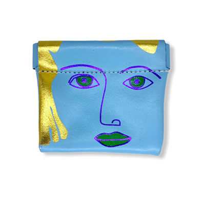 Square Face Coin Purse Blue