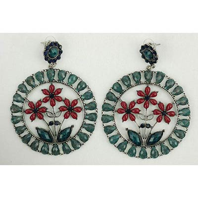 Floral Earings (green/red)