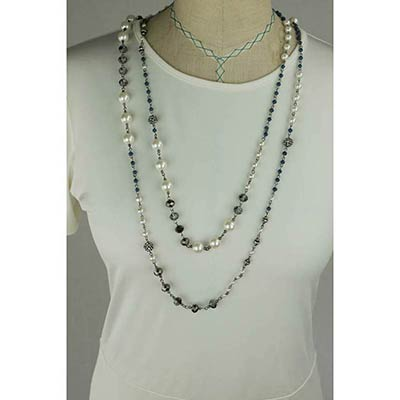 Beaded Necklace (Grey Silver)