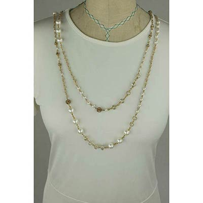Beaded Necklace (Gold Long)