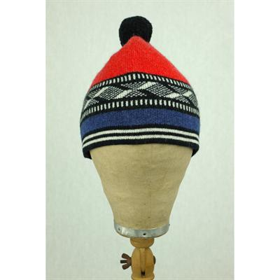 Bobble hat (Red/Blue)