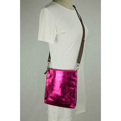 Messenger Bag / Clutch (metallic pink)