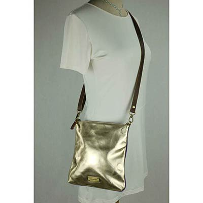 Messenger Bag / Clutch (metallic gold)