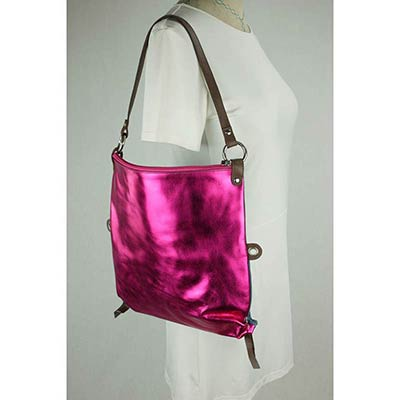 Messenger Bag / Back pack (Metallic Pink)