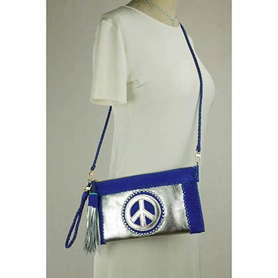 Peace clutch (royal blue/ silver)
