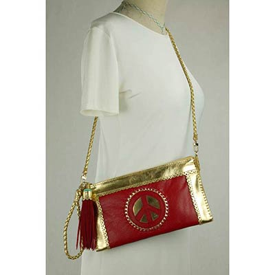Peace Clutch (red/gold)