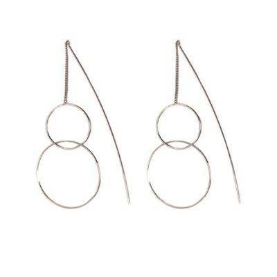Europa Circle Pull through earrings (Silver)
