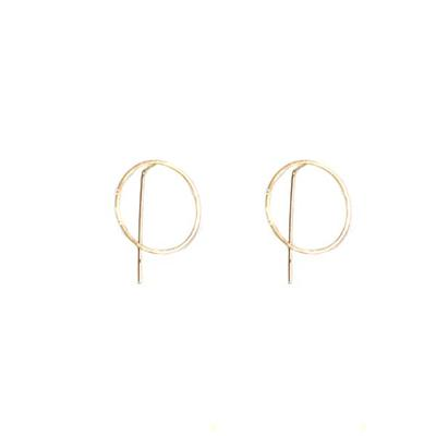 Harper Circle Pull-through Earrings (Gold)