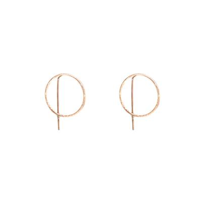 Harper Circle Pull-through Earrings (Rose Gold)