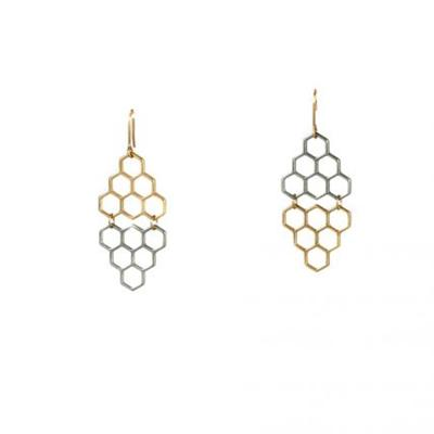 Grace Mini Hexagon Earrings (Two Tone)