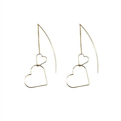Mara Double Heart Pull Through Earrings (Gold)