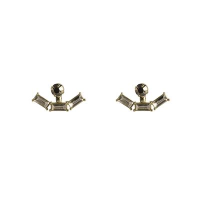 Hortense Stone Front And Back Earrings (Gold)