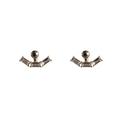 Hortense Stone Front And Back Earrings (Rose Gold)