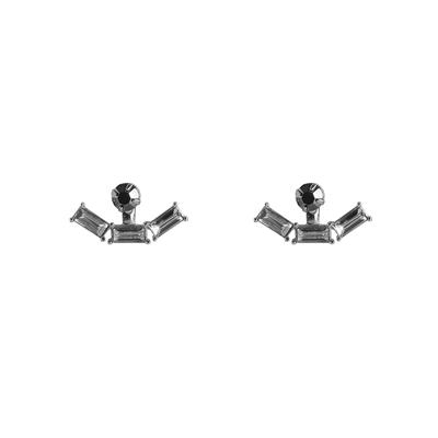 Hortense Stone Front And Back Earrings (Silver)