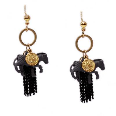 Horse Chain Earrings (Grey/Black)