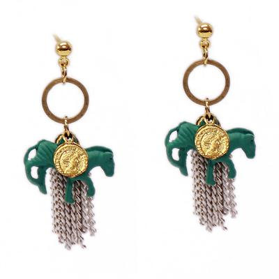 Horse Chain Earrings (Green/Grey)