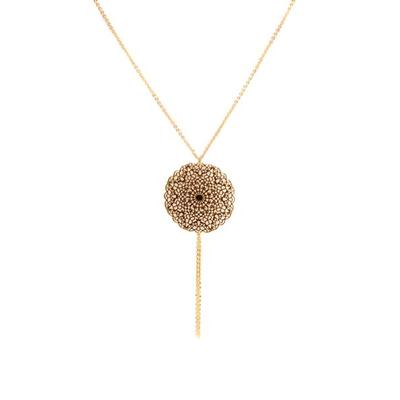 Inanna Gold Plated Filigree Disk Necklace (Gold)