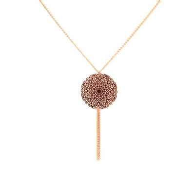 Inanna Gold Plated Filigree Disk Necklace (Rose Gold)