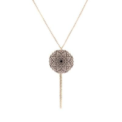 Inanna Gold Plated Filigree Disk Necklace (Silver)