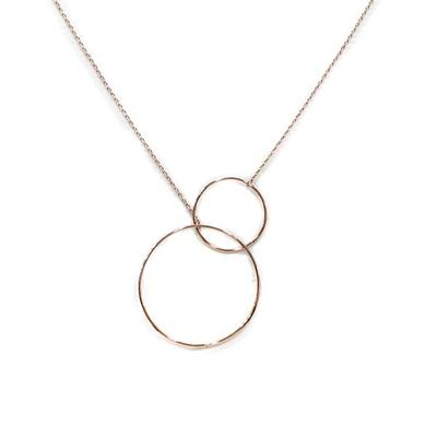 Liviana Double Circle Necklace (Rose Gold)