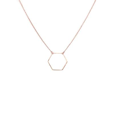 Evi Delicate Hexagon Necklace (Rose Gold)