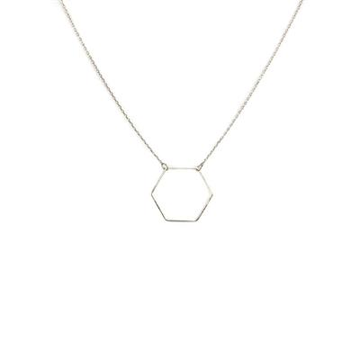 Evi Delicate Hexagon Necklace (Silver)