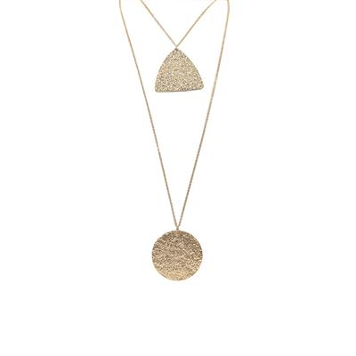 Carmen Textured Two Row Necklace (Gold)