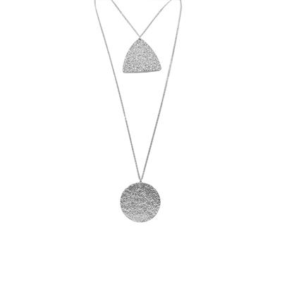 Carmen Textured Two Row Necklace (Silver)