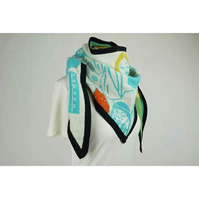 Doll Face scarf (white/bright blue/ multi)