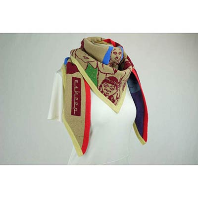Doll Face scarf (tan/burgundy/multi)