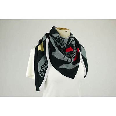 Organised pattern Scarf (char/black/multi)