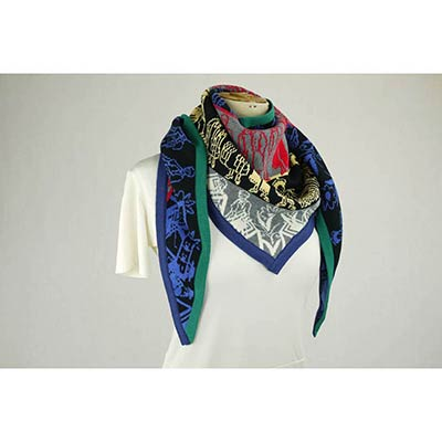Twin Porcelains scarf (blue/black/red/yellow/multi)