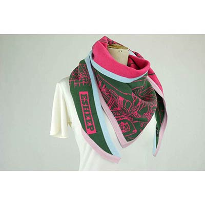 Girl by liffey scarf (khaki/cerise)