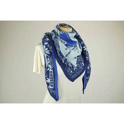 Girl in antique shop scarf(navy/sky/blue/black)