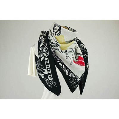 Girl in antique shop scarf(black/white/lemon/red)
