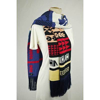 Weaving workshop scarf (navy/multi)