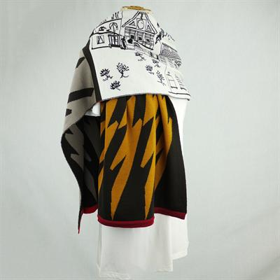 Mountain View Cowboy Town Blanket Scarf (Brown/Multi)