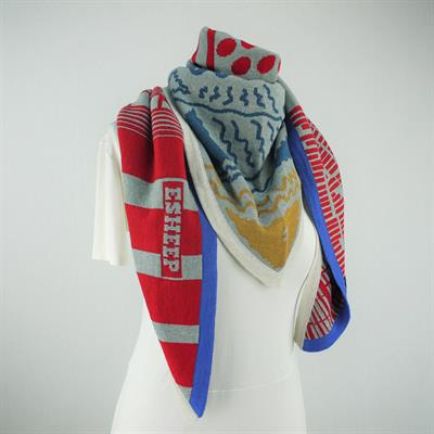 The Apartment Oversized Triangle Scarf Grey/Multi