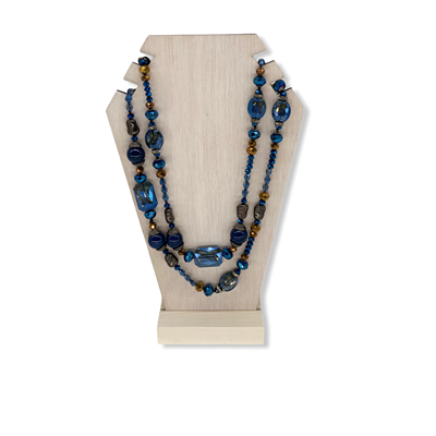 Beaded Crystal Necklace (Blue)