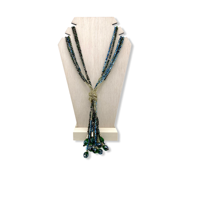 Beaded Necklace (metallic blue)