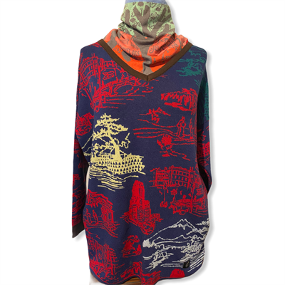 Little scenes sweater (navy/red/multi)