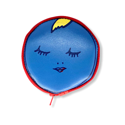 Round Face Coin Purse Blue/Yellow